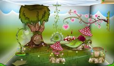 Enchanted Forest Items with Water Colour wallpaper, Glossy Grass floor & Puffy Blue ceiling.