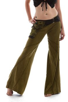 STONEWASH FLOW PANTS, green hippie trousers, green pants, festival clothing, pixie wear, flow trousers, green flares, psy trance pants