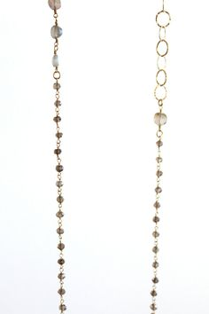 Labradorite coin and smokey quartz necklace by KLynnBayneJewelry