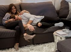 Mitchell Gold + Bob Williams | JoJo and Jordan's First Home: In our stores, we encourage customers to sit in a sofa the way they would at home. So glad JoJo and Jordan of The Bachelorette took us up on it!