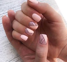 pink nail polish with geometric design. Feather Nails – … – Pink Nail Art – # Feather Nails pink nail polish with geometric design. Stylish Nails, Trendy Nails, Cute Nails, Short Nail Designs, Nail Art Designs, Nails Design, Design Design, Design Ideas, Line Nail Art