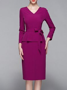 Shop Midi Dresses - Fuchsia Long Sleeve V Neck Paneled Sheath Midi Dress online. Discover unique designers fashion at StyleWe.com.