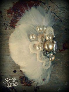 Vintage Feather Bridal Headdress  www.somethingoldbride.com