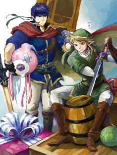 Cool illustration of Ike and Link for Smash. I like how it looks like they're trying to break open the different items in the Smash series. The level of detail on Ike and Link is great, as they look almost hand drawn.