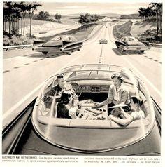 """1956년 광고 """"ELECTRICITY MAY BE THE DRIVER"""" (©센트럴파워앤라이트)"""
