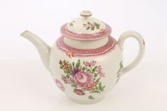 LOT 78 18th century Worcester tea pot and cover, polychrome painted with floral sprays and pink scale border