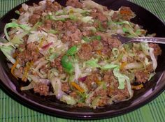 Ground beef asian-ish coleslaw... Picture looks a bit gross, but fast and easy and potentially delicious if you do it right.