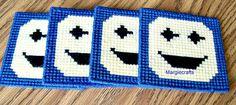 Smiley Face Coasters, Plastic Canvas, Handmade, Cross Stitch, Square, Summer http://www.bonanza.com/listings/333440699