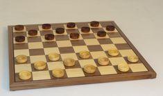 12 Wood Checker Set