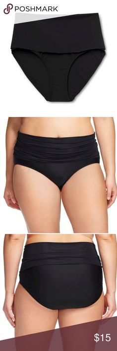 Ava & Viv Folded Waist Swim Bottoms Ava & Viv Plus Size Black Swim Bottoms with Yoga Pant Style Fold-Over Waistband. Wear them Folded Over & Gathered for that Shirred Look, Wear them Unfolded for Maximum Coverage -or- Wear them as a Swim Skirt by Pulling the Waist Down Lower.  Materials: 82% Nylon/13% Spandex; Lining: 100% Polyester. Ava & Viv Swim