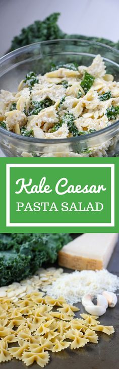 Kale Caesar Pasta Salad with a homemade light & creamy garlicky dressing makes a great lunch or side for any meal | flatlandfreshfood.com