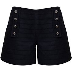 Rumour London - ELLE Wool & Cashmere Shorts (3.045 ARS) ❤ liked on Polyvore featuring shorts, bottoms, military shorts, seamless shorts and wool shorts