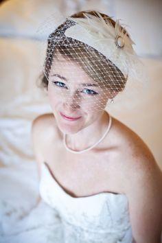 Laurel's bridal caplet with birdcage veil