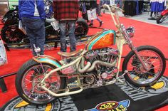 Ross Latimer rolled his sister in-law's hardtail chopper into the competition and rolled out with the big check and the win in MOD Custom. The 2001 Sportster 1200 features a Rats Custom Hard Tail with paint and pinstripe from Ross. | Washington D.C. IMS Ultimate Bike Builder, 1st Place MOD Custom Class