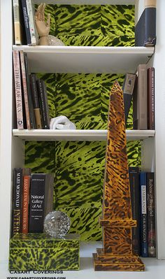 Green Faux Tortoiseshell Bookcase Backings with Casart removable wallcovering