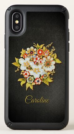 Watercolor Floral Art Monogram iPhone X Case - Beautiful and elegant monogram iPhone X case with watercolor painted floral bouquet on a dark textured background. Easily customize by changing the name. Valentines Gifts For Her, Mobile Cases, Floral Bouquets, All Fashion, Other Accessories, Textured Background, Floral Watercolor, Monogram, Iphone