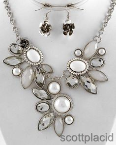 "CHUNKY WHITE FAUX PEARL SILVER TONE NECKLACE SET WITH ACRYLIC ACCENTS    * If you need a necklace extender I have them for sale in my store.*        NECKLACE: 18"" + EXT    DROP: 2 1/2"" LONG               HOOK EARRINGS: 1 1/4"" LONG                     COLOR: SILVER TONE  $21.99"