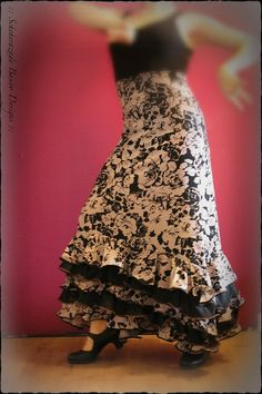 Mermaid cut ruffled flamenco dance skirts with black roses and stripes by ScheherazadeBanoo on Etsy, $155.00