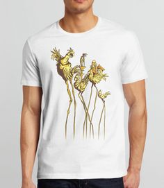 Dali Chocobos | Video Game Art T-Shirt with Final Fantasy 7 Chocobos in the surrealist art style of Salvador Dali. Pictured: White Mens Tee Shirt
