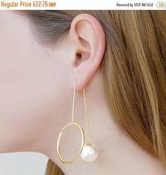 ON SALE NOW Gold Drop Pearl Earrings - Statement Drop Earrings, Pearl Jewelry