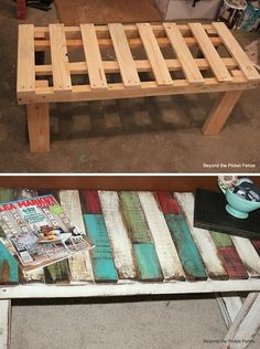 DIY Patchwork Pallet Bench http://diycozyhome.com/diy-patchwork-pallet-bench/