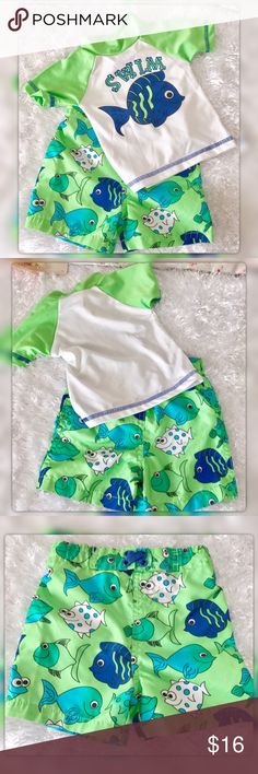"Mick Mack Ltd 6-9 Months 2 piece Swim Set 92% Polyester 8% Spandex pit to pit measures 9.5"" Length 12"" waist 16.75 Length 9.5"" Gently Used with no flaws Mick Mack Swim Swim Trunks"