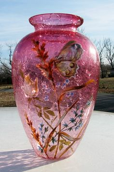 Moser Cranberry Crackle Glass Vase with Butteryfly and Seaweed or Plants