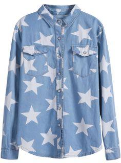 Cazadora denim Estrellas mangas largas-Azul EUR23.74