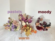 dried flowers don't have to be dyed, painted or bleached -- there's a whole rainbow of colors to choose from. Choose sustainably and skip the botanicals that are chemically altered. Spring Wedding, Dried Flowers, Floral Wedding, Floral Design, Floral Wreath, Pastel, Rainbow, Wreaths, Seasons
