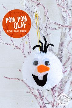 How to make your own Olaf ornament pom pom to adorn your tree.  Such a great Christmas craft for kids!
