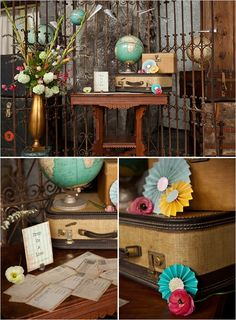 Vintage Travel Wedding - entrance/sign-in (or whatever's decided) table.