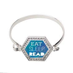 Eat, Sleep, Read Hexagon Bracelet #bracelet #Quote #read #books #love