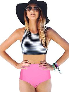 480f80d115 Women's Clothing, Swimsuits & Cover Ups, Bikinis, Sets,Bikini Swimsuit For  Women- Racerback Tankini Stripe High Waisted Bikini - Navy -