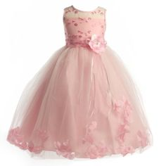 ) Embroidered Sequin Flowers on Peek-A-Boo Organza Bodice Edged with Satin Ribbon. Tea Length Lined Tulle Petal Skirt. Pink, Zipper Back has Peek-A-Boo Back and a Self-Tie Organza Sash. Made in the USA. Beautiful Dresses, Nice Dresses, Prom Dresses, Formal Dresses, Wedding Dresses, Girls Dresses, Pink Flower Girl Dresses, Pink Dress, Flower Girls