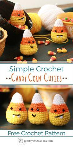 Crochet Candy Corn Cuties A Free Pattern by Jen Hayes Creations Holiday Crochet, Crochet Gifts, Crochet Toys, Crochet Fall Decor, Autumn Crochet, Crochet Pumpkin, Crochet Simple, Cute Crochet, Beautiful Crochet