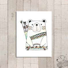 Tribal Bear Art Print | Nursery Decor | Boho Playroom Wall Art | Baby Animal Print | Watercolor Woodland Creatures | Frame not included by TheYellowDogShoppe on Etsy https://www.etsy.com/listing/493647271/tribal-bear-art-print-nursery-decor-boho