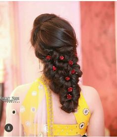 70 Ideas Creative Art Inspiration Medium For 2019 Engagement Hairstyles, Half Updo Hairstyles, Braided Hairstyles For Wedding, Indian Hairstyles, Bride Hairstyles, Hairstyles Haircuts, Saree Hairstyles, Front Hair Styles, Medium Hair Styles