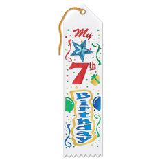 """Pack of 6 White """"7th Birthday"""" Jeweled Children's Party Favor Ribbon Bookmarks 8"""
