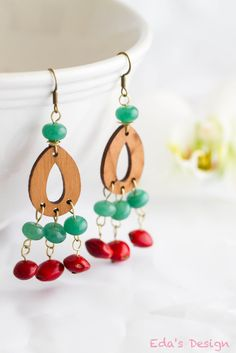 FREE SHIPPING! Chandelier Earrings with Green Jade beads and Red Saga Seeds. at Bonanza.com