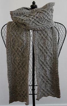 Iron work scarf, Ravelry cable work knit scarf with interlocking celtic knots and braids