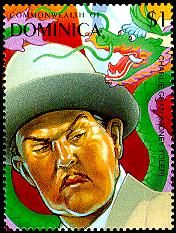Detective Fiction on Stamps: Dominica, 100 Years of Cinema. Charlie Chan