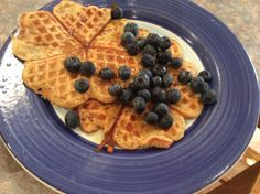 Gluten and dairy free waffles (made in the waffle maker) with blueberries and maple syrup for a very decadent breakfast. Dairy Free Waffles, Dairy Free Recipes, Maple Syrup, Blueberries, Free Food, Gluten, Meals, Breakfast, Morning Coffee