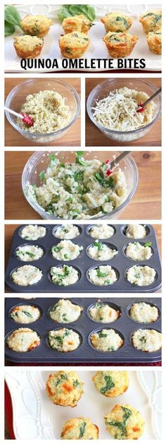 :D Quinoa Omelette Bites. Made these for breakfast. Yummy - even my picky eater ate them. Baby Food Recipes, Cooking Recipes, Candy Recipes, Dessert Recipes, Cooking Tips, Slow Cooking, Quinoa Bites, Quinoa Salad, Cooked Quinoa