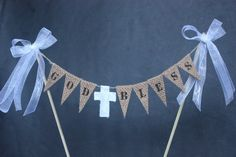 Christening, baptism or first communion hessian cake banner / cake bunting First Communion Banner, First Communion Decorations, Boys First Communion, Communion Cakes, Cake Bunting, Cake Banner, Religious Cakes, Confirmation Cakes, Baptism Candle