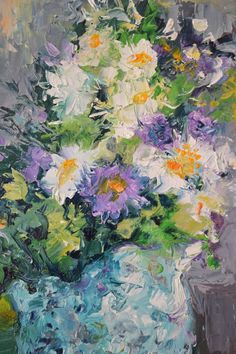 A gorgeous flower bouquet, made with professional oils on stretched canvas. 50x30x2 cm It is signed and dated on the front by the artist: Soos Roxana Gabriela, all the paintings will have a Certi...