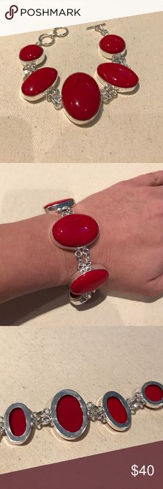 925 sterling silver red coral bracelet ❤️️ Beautiful, shiny, smooth, polished, deep red, semi precious, round & oval, 💯% coral gemstones, encased in an 💯% 925 Sterling silver setting with all hardware 💯% 925 sterling silver & stamped 925, to make this gorgeous bracelet. It has adjustable length of 7 & 1/4 - 8 inches. Toggle clasp closure for easy on!! Largest, center stone measures 1.5 X 1 in. L X W. Perfect for the holiday season!! ❤️️❤️️ Gorgeously Hand made & NWOT. Like all jewelry…