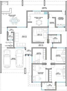 Mario y Estudio Arquitectura: ¡tenéis el mismo gusto! Modern House Floor Plans, Modern Bungalow House, Home Design Floor Plans, New House Plans, Dream House Plans, Small House Plans, 6 Bedroom House Plans, Basement House Plans, Single Storey House Plans
