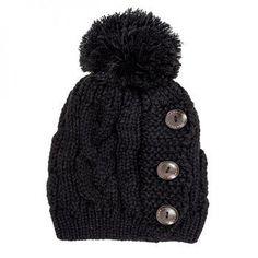 Black Paula Knitted Pom Beanie