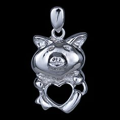 Silver pendant, piglets Silver pendant, Ag 925/1000 - sterling silver. Rhodium finished. With stones (CZ - cubic zirconia). Lovely pendant in the form of pig with heart. Unusual. Dimensions approx. 10x21mm loop included.