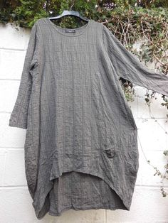 "QUIRKY BALLOON SHAPE DRESS GREY CHECK S/M 44"" BUST BNWT LAGENLOOK ETHNIC BOHO #BELLABLUE #BohoHippie"